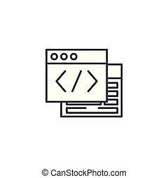 webpage, quelle, linear, ikone, concept., webpage, quelle, linie, vektor, zeichen, symbol, illustration.