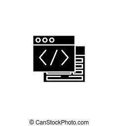 webpage, quelle, schwarz, ikone, concept., webpage, quelle, wohnung, vektor, symbol, zeichen, illustration.