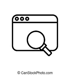webpage template with magnifying glass line style icon