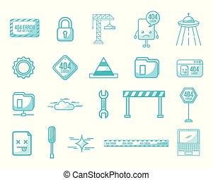 webpage under construction set icons