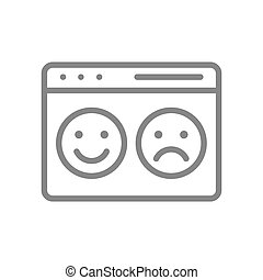 Webpage with happy and sad faces line icon. Website with positive and negative feedback symbol