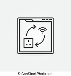 Webpage with UK smart socket vector concept linear icon