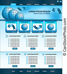websajt, blå, design, mall