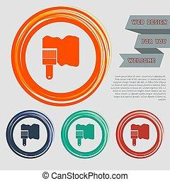websajt, blå, utrymme, text., knäppas, måla, vektor, design, borsta, apelsin, grön, ikon, din, röd