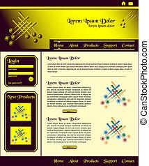 websajt, brun, design, mall, guld