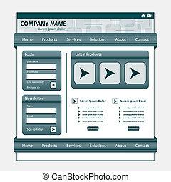 websajt, grå, design, mall
