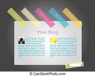 websajt, mall, med, färg, band