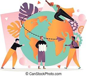 websajt, nät, begrepp, baner, resa, vektor, värld, sida
