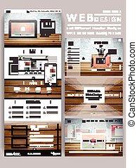 websajt, nymodig, en, design, mall, geometrisk, sida