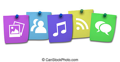 Websajt,  post, den, färgrik, ikon