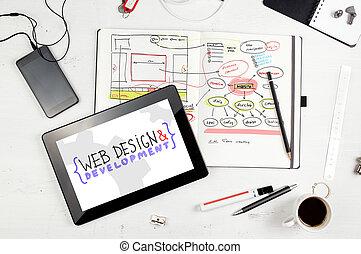 websajt, projec, anteckningsblock, hand, workplace.,...