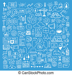 websajt, utveckling, elementara, affär, doodles
