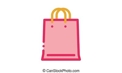 webshop bag Icon Animation. color webshop bag animated icon on white background
