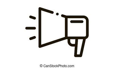 webshop loudspeaker advertising Icon Animation. black webshop loudspeaker advertising animated icon on white background
