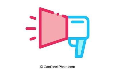 webshop loudspeaker advertising Icon Animation. color webshop loudspeaker advertising animated icon on white background