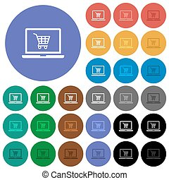 Webshop round flat multi colored icons