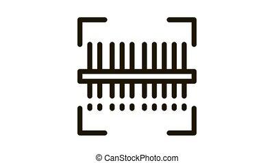 webshop scanning barcode Icon Animation. black webshop scanning barcode animated icon on white background