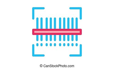 webshop scanning barcode Icon Animation. color webshop scanning barcode animated icon on white background