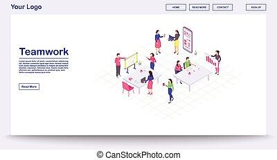 websida, mall, vektor, teamwork, illustration, isometric