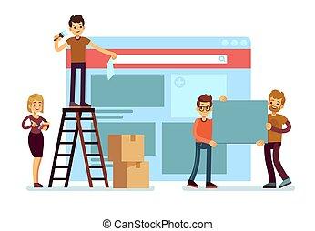 website, épület, fogalom, emberek, webdesign, team., vektor, ui, szövedék kialakulás, határfelület, szerkesztés