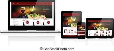 website, összetett, sablon, berendezés