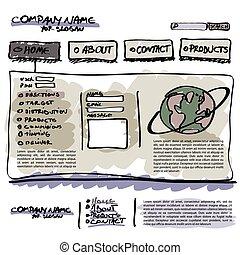 website, šablona, vektor, editable
