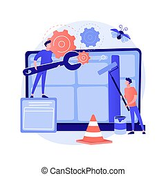 website, abstract concept, onderhoud, vector, illustration.