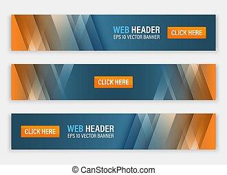 website, abstrakcyjny, header., banners., wektor, poziomy
