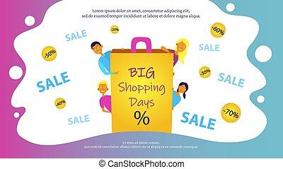 website, albo, dni, ludzie., radosny, zakupy, chorągiew, sprzedaż, projektować, cielna, sale., pojęcie, cztery afisz, młody