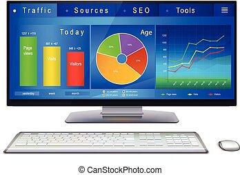 website, analitycs, auf, schreibtisch pc, schirm