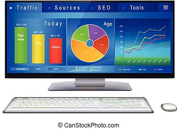 Website analitycs on desktop PC screen - Web analytics...