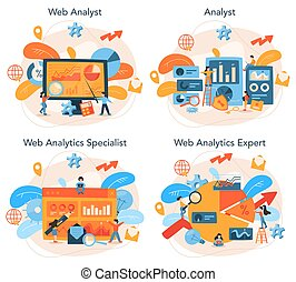 Website analyst concept set. Web page improvement for business