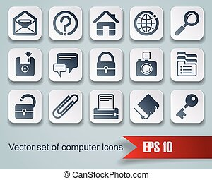 Website and internet icons - Vector set of square website...