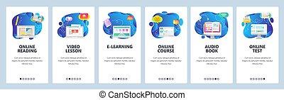 Website and mobile app onboarding screens vector template -...