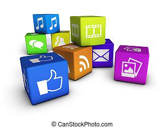 Website And Social Media Cubes - Website, social media and...