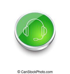 Website,  App, steun, Of,  Vector, koptelefoon, pictogram, knoop