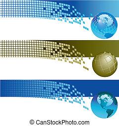 Website banner backgrounds. Three vector corporate technology site website banner backgrounds