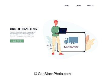 Website banner mockup for parcel tracking services flat ...