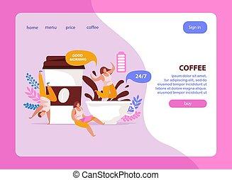 website, batterij, achtergrond, koffie