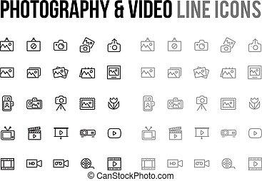 Website,  &, beweeglijk, fotografie,  Vector,  video, Ontvankelijk, lijn,  App, pictogram