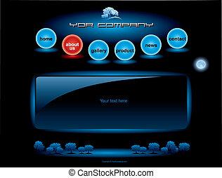 website, blå, barer, sæt, knap, spheres, skabelon