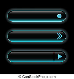 Website black buttons bars set template. Vector elements