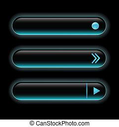 Website black buttons bars set template