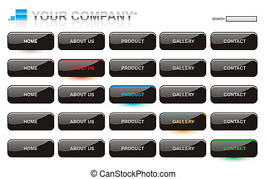 Website black glossy style button bars set template
