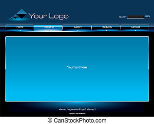 Website blue glossy template