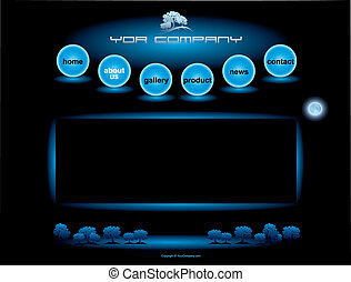Website blue spheres button bars set template