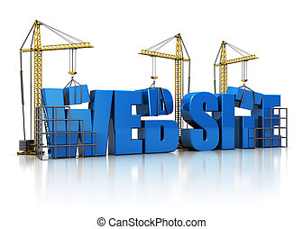 website building - 3d illustration of cranes building...