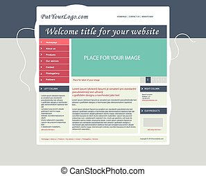 Website business template layout with text