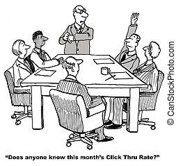 Website Click Thru Rate - Cartoon of business leader asking...