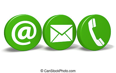 Website and Internet contact us concept with email, at and telephone icons and symbol on three green round buttons isolated on white background.